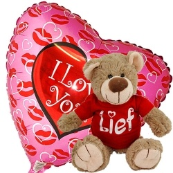 Combi deal: Knuffel met een I love you ballon